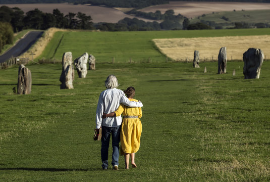 West Kennet Avenue ancient monument of standing stones near Avebury in Wiltshire, England.