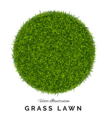 Fake Green Grass or Astroturf Round Background Isolated