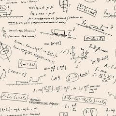 Seamless pattern with handwritten math and physics formulas.
