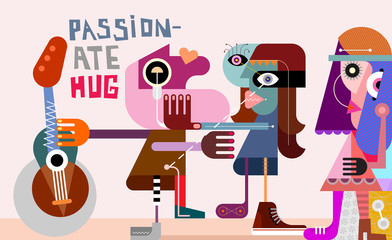 Foto op Canvas Abstractie Art Passionate Hug vector illustration