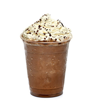 Frappuccino white whip cream in takeaway cup isolated on white background