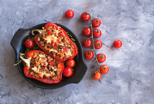 Stuffed peppers minced meat with vegetables in the Mexican style. Bulgarian pepper. The view from the top. The view from the top. National cuisine