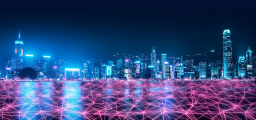 Fototapete - Smart Network and Connection city of Hong Kong
