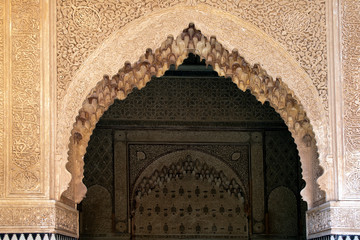 Marrakesh Morocco, Tadelakt decorated arch above entrance way at the Saadian Tombs