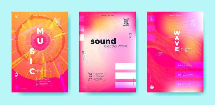 Dj Poster. Wave Event. Trendy Music Banner.