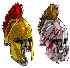 Cartoon detailed realistic colorful scary human skull in ancient bronze spartan or greek warrior helmet with blood spots. Isolated on white background. Vector icon.