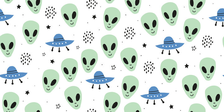 Childish seamless pattern with aliens, ufo, cosmos
