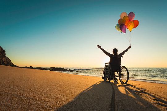 Woman on a wheelchair