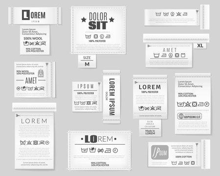 Laundry flat icons textile labels set