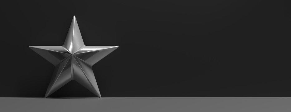 Star silver against gray black color background. 3d illustration