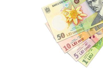 some romanian leu banknotes indicating growing economics with copyspace
