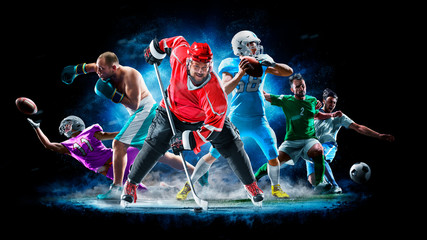 Multi sport collage football boxing soccer ice hockey on black background Wall mural