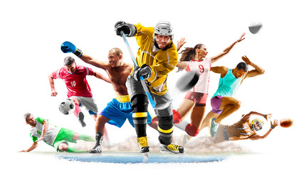 Multi sport collage football boxing soccer voleyball ice hockey running on white background Wall mural