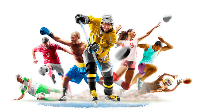 Multi sport collage football boxing soccer voleyball ice hockey running on white background