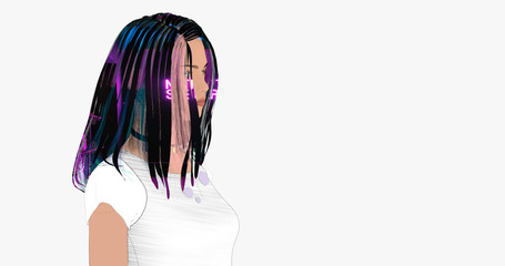 Creative Stylized Portrait of a Beautiful Young Woman with a Neon Image on Her Hair. 3d Draving Isolated on a White Background with Copy-Space. All Textures Free for Commercial Use under CC0 License.