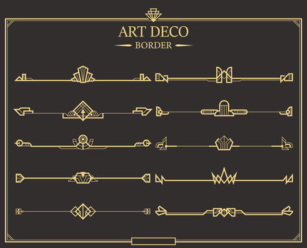 Set of Art deco gold calligraphic page dividers.