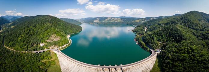 Aerial wide panoramic shot of Bicaz Lake Wall mural