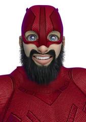 super hero cartoon with beard on suit portrait