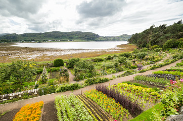 Inverewe Gardens, Scotland, with a variety of perennial and annual plants including vegetable beds
