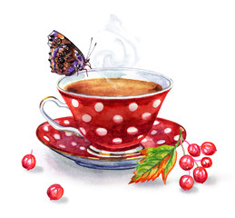 Tea with viburnum, watercolor illustration on a white background. A cup of tea, a branch with viburnum berries, a butterfly.