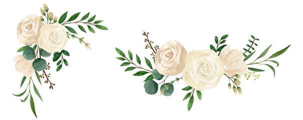 Flower illustrations watercolor. Botanic composition for invitation card, wedding, greeting. Watercolor vintage style.
