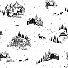Seamless pattern with drawing winter landscape, houses, chalets and animals. Vector Christmas illustration in vintage style.