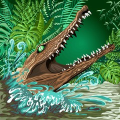 Crocodile Alligator Attack coming out from the Rainforest River Vector illustration