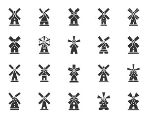 Vintage Windmill black silhouette icons vector set