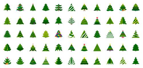 Christmas Tree flat icon set winter xmas vector Wall mural