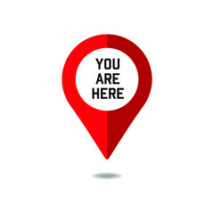 You are here sign icon mark. Destination or location point concept. Pin position marker design.