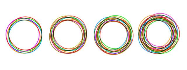 Circular form, set of circles using sketch drawing circle lines, circular logo elements – vector
