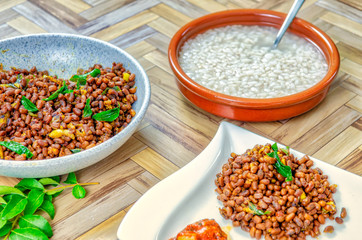 Traditional South Indian Food of Rice Porridge & Red Cow Peas Curry