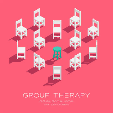 Chair and stool 3D isometric heart shape pattern, Group therapy concept poster and social banner vertical design illustration isolated on pink background with copy space; vector eps 10