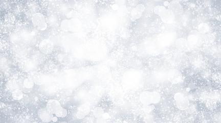 white snow blur abstract background. Bokeh Christmas blurred beautiful shiny Christmas lights