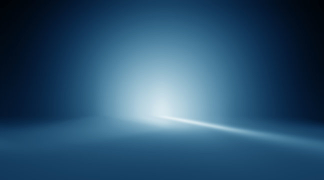 Blue empty room studio gradient with spotlight used for background and display your product