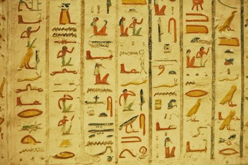 Egypt Hieroglyphics in Valley of Kings close up detail , Gates of the Kings is a valley in Egypt for a period of nearly 500 years from the 16th to 11th century BC, for the Pharaohs.