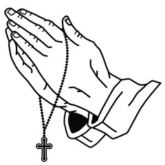 Hands Praying with Rosary.
