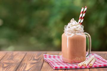 milkshake in mason jar