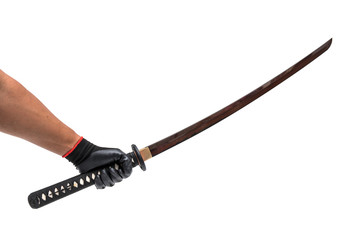 Red blade long sword - knife on hand with black glove isolated in white background
