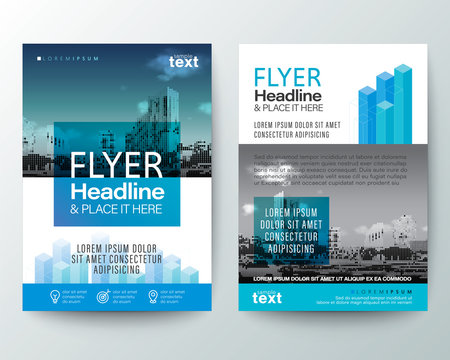 abstract blue isometric shape graphic with space for photo background. Brochure cover Flyer Poster design Layout vector template in A4 size