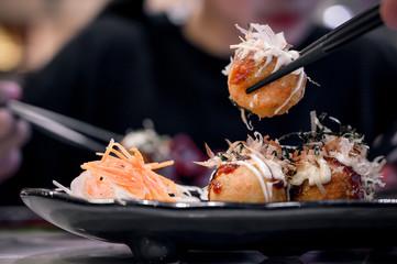 Fried Takoyaki balls dumpling. Fototapete