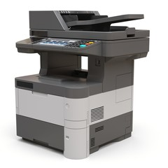 Laser printer on the white background. 3d illustration.