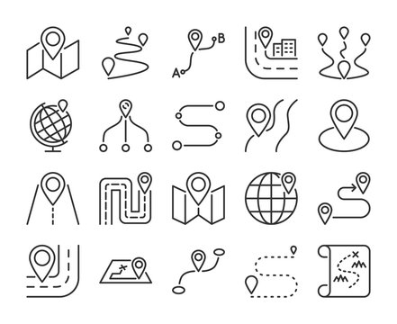 Route icon. Road map line icons set. Vector illustration.