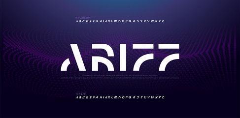 Abstract modern alphabet fonts. Typography electronic digital game music future creative italic font design concept. vector illustraion