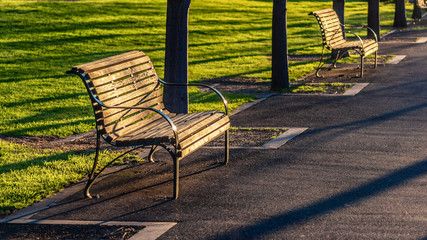 An empty diagonal park bench in the late afternoon sunset light.