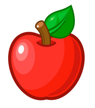 Vector illustration. Red apple with stem and leaf. Cartoon sticker in comics style.