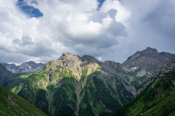 Panoramic view in the mountains of lech valley, Tyrol, Austria