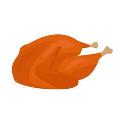 Roasted turkey/chicken meal vector illustration, cartoon style clip-art.