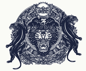 Black panthers and mayan sun calendar. Mesoamerican mexican culture. Esoteric tattoo and t-shirt design. Wild cats totem, jungle art
