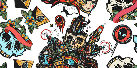 Sci-fi seamless pattern. Dead spaceman, astronaut, gun blaster, UFO abducts cat, rocket, meteor. Space adventure. Old school tattoo background. Traditional tattooing style